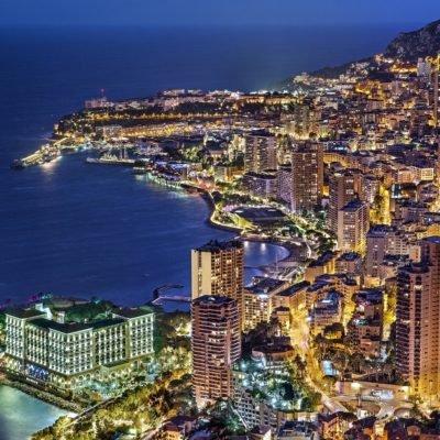 Monaco at night with bright colours