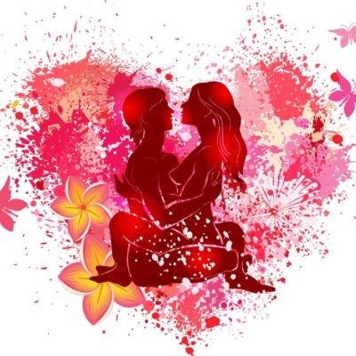 Bild von einem Herz mit Pärchen in der Mitte, welches Tantra macht