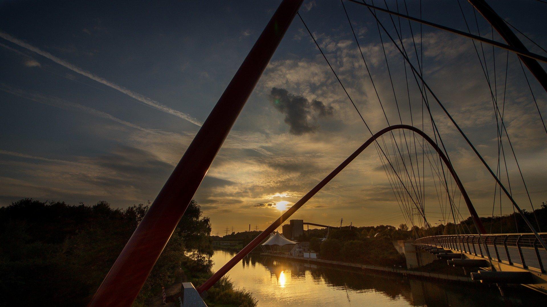 Blick von Brücke über Nordsternpark Herne