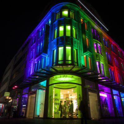 colourfully illuminated building in Recklinghausen at night