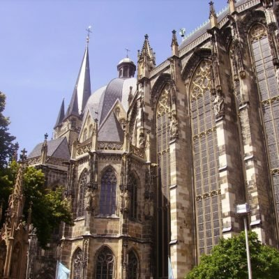 View from below of Aachen Cathedral