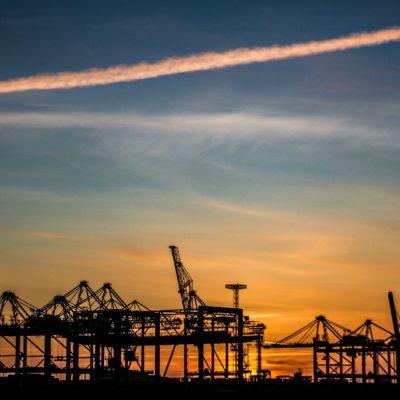 Himmel über Hafen in Bremerhaven