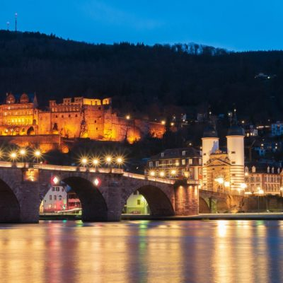 picturesque view of the old town of Heidelberg in the evening
