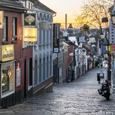 View into cobblestone lanes of Mönchengladbach