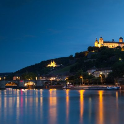 View over the Main to Würzburg at night